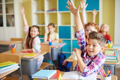 Schulklasse während des Unterrichts