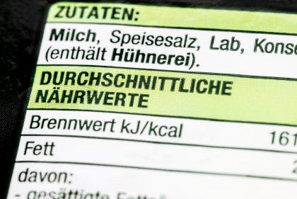 Verbraucherschutz: Nahrwertangaben auf einem Lebensmittel