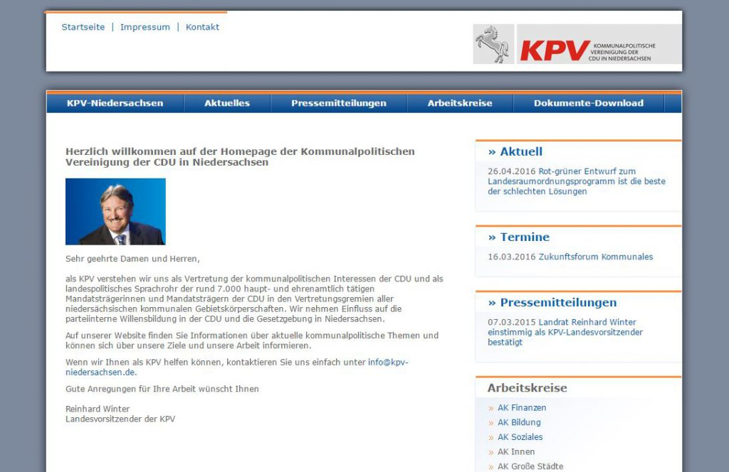 KPV Internetseite