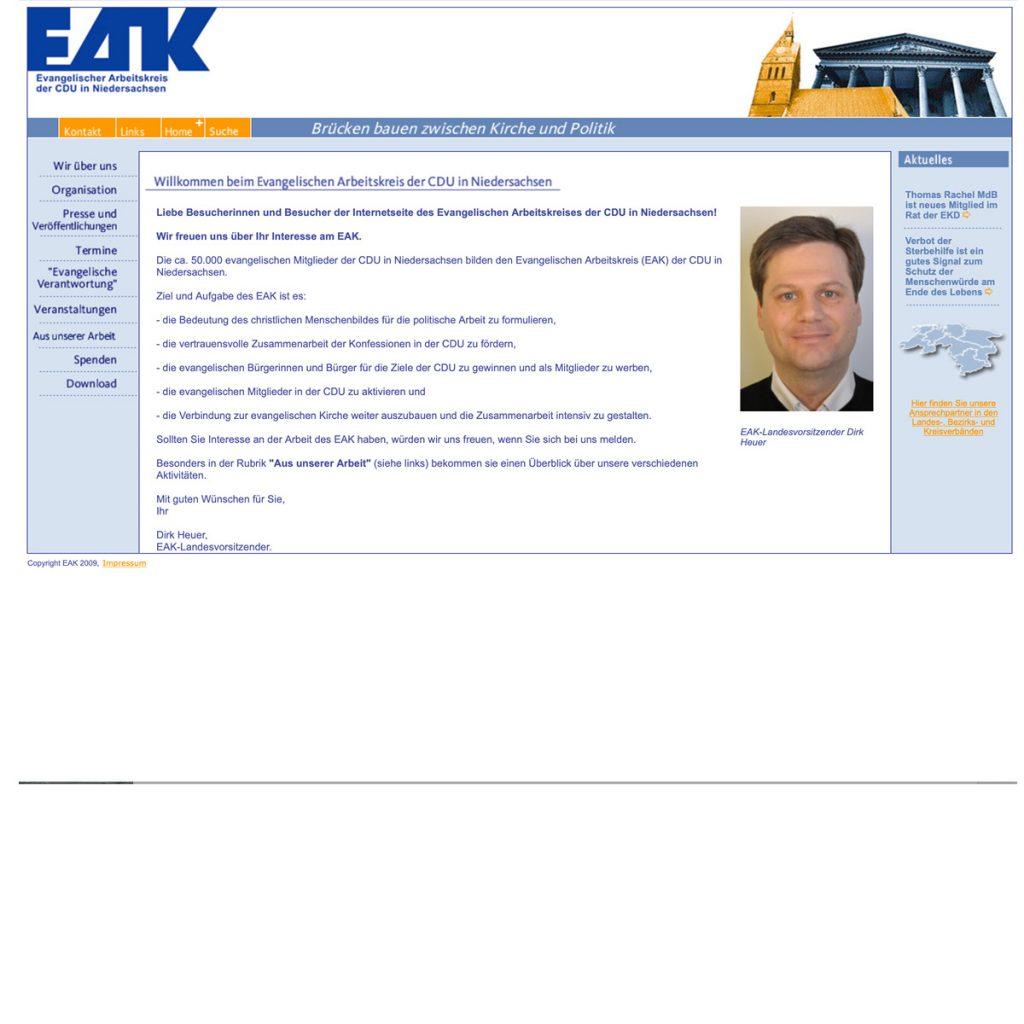 EAK Internetseite