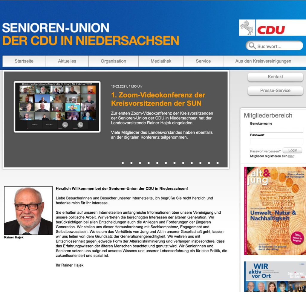 Senioren-Union Internetseite